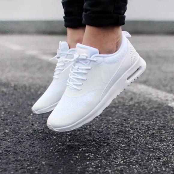pretty nice 00658 e34aa Womens Nike Air Max Thea Triple White Sneakers